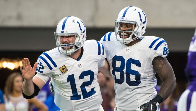 Dec 18, 2016; Minneapolis, MN, USA; Indianapolis Colts tight end Erik Swoope (86) celebrates his touchdown with quarterback Andrew Luck (12) during the second quarter against the Minnesota Vikings at U.S. Bank Stadium. Mandatory Credit: Brace Hemmelgarn-USA TODAY Sports