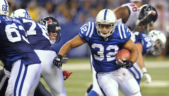 Colts running back Mike Hart breaks free on a run against the Houston Texans at Lucas Oil Stadium Monday, Nov. 1 2010. Hart, who played for three seasons with the Colts, has joined the Indiana Hoosiers as a running backs coach.