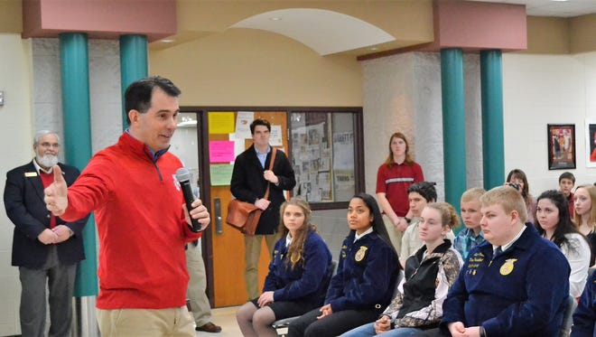 Gov. Scott Walker speaks to Gillett High School students on Thursday, March 15, 2018 at Gillett High School.