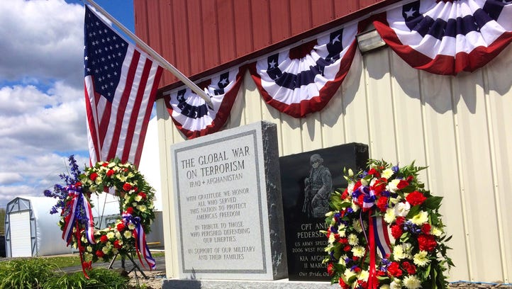 A newly unveiled memorial outside the Hudson Valley Sportsdome in Milton honors veterans in the Global War on Terror. The memorial was dedicated in a ceremony on Saturday.