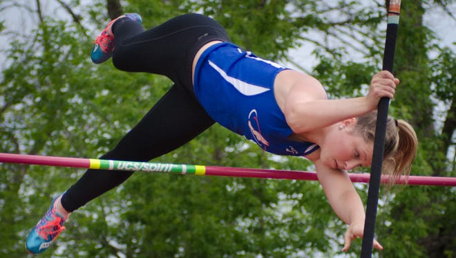 Wisconsin Lutheran's Hailey Orlowski, shown here in a meet from last season, cleared 12 feet to break the meet record at the Viking Invitational on Monday.