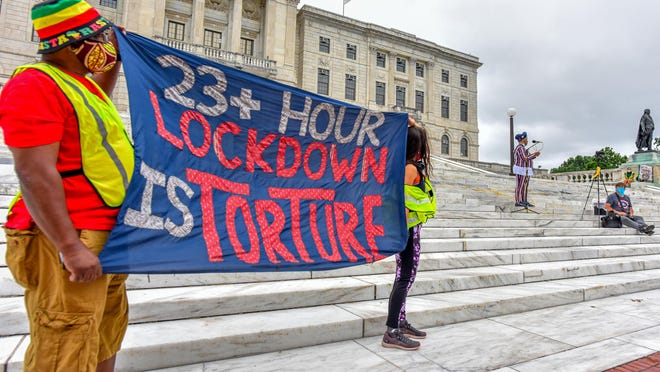 Formerly incarcerated people, families of incarcerated people and allies gathered at the Rhode Island State House on Friday, this year's observed Independence Day, in support of those imprisoned in Rhode Island.
