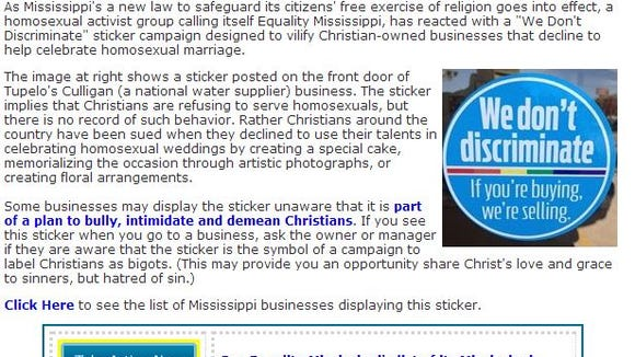 """The American Family Association responded to the sticker campaign some Mississippi businesses have signed up for after the passage of the state's """"Turn The Gay Away"""" bill."""