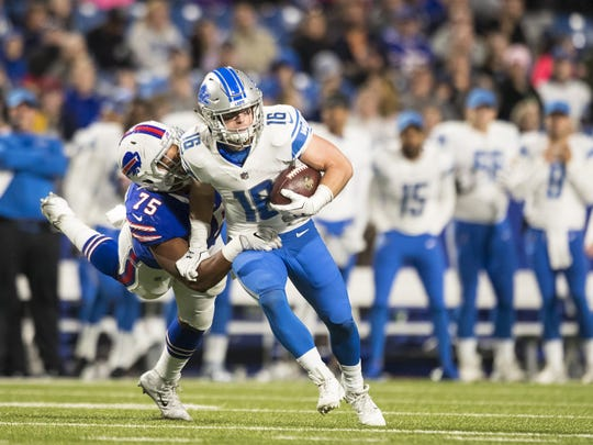 Lions receiver Jace Billingsley is brought down for