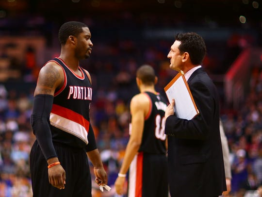 Portland Trail Blazers guard Wesley Matthews (2) talks