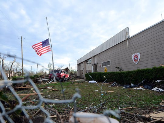Hattiesburg Fire Station No. 2 places the American flag half-staff in the aftermath of a tornado strike on Jan. 21.