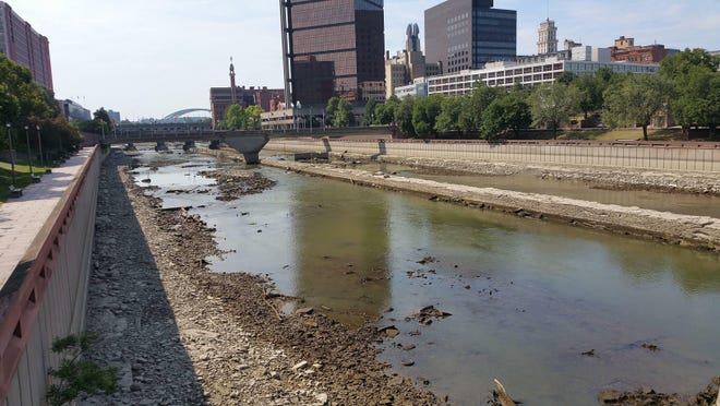 A largely drained Genesee River looking south from Andrews Street on Wednesday, July 29. (Used with permission of Joel Gallant)