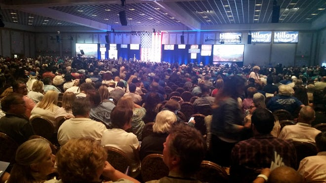 Thousands of people gather at the Paris Las Vegas casino in Las Vegas for the Nevada State Democratic Convention on Saturday, May 14, 2016.