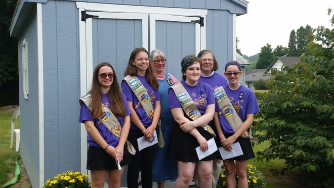 Participates in the ribbon-cutting ceremony at St. John's Episcopal Church in Red Hook, from left: Anna Marcotte, Rachel Gifford, Cindy Fildes, Katerina Sittler, Harriet Burke, Mackenzie Wade.