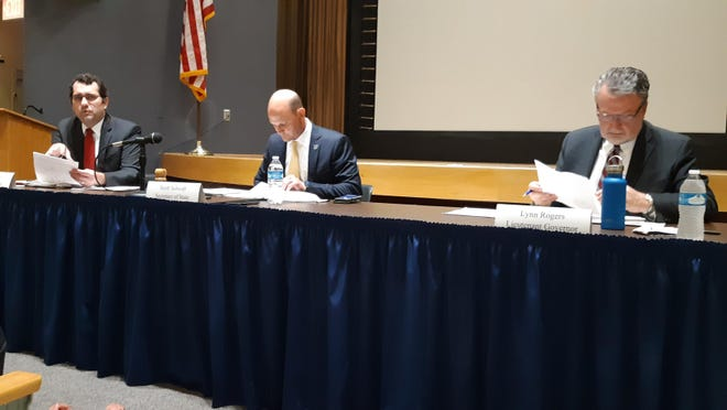 "The state's objections board, from left, Attorney General Derek Schmidt, Secretary of State Scott Schwab and Lt. Gov. Lynn Rogers denied U.S. Rep. Roger Marshall's request to be listed on the August ballot for U.S. Senate as Roger ""Doc"" Marshall."