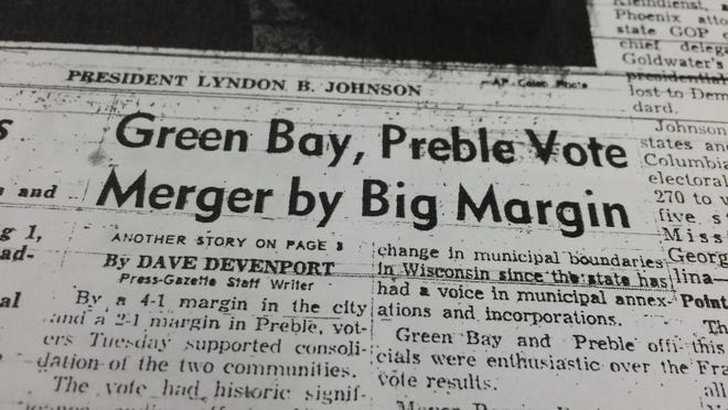 The Green Bay Press-Gazette front page on Nov. 4, 1964, reported that voters had approved the merger.