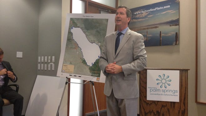 Assemblyman Brian Nestande speaks at a kick-off event to encourage people to sign up for the Salton Sea license plate.