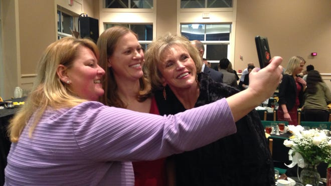 Wicomico High School teacher Kimberly McGlinchey takes a 'selfie' as she celebrates winning Wicomico County Teacher of the Year.