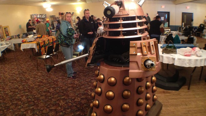 "A model of a Dalek, which appears on the British television program ""Dr. Who,"" is shown at EgoCon in Stevens Point."