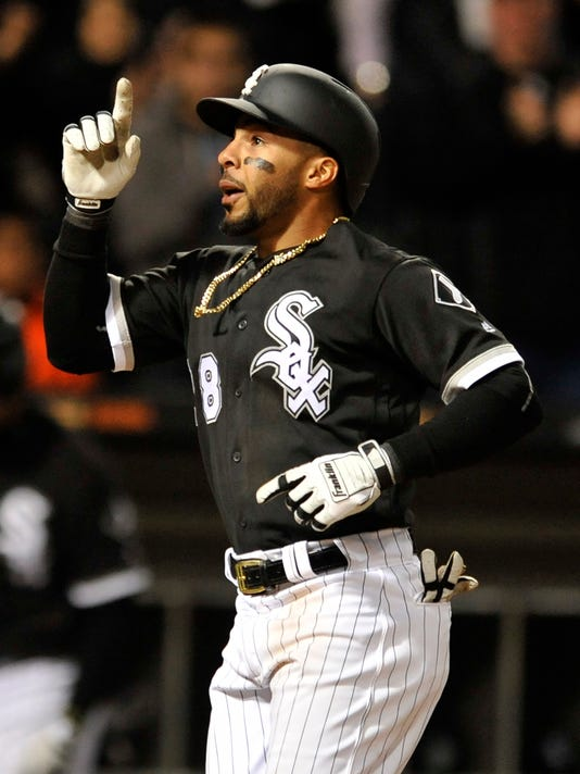 Chicago White Sox's Leury Garcia celebrates at home plate after hitting a solo home run during the seventh inning of an interleague baseball game against the San Diego Padres, Friday, May 12, 2017, in Chicago. (AP Photo/Paul Beaty)