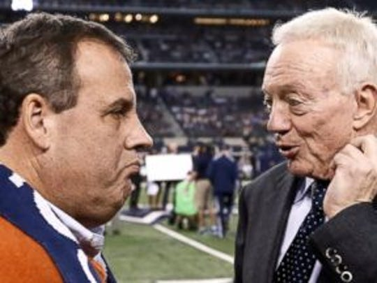 Gov. Chris Christie (left) Dallas Cowboys owner Jerry Jones before a recent game. (Associated Press)