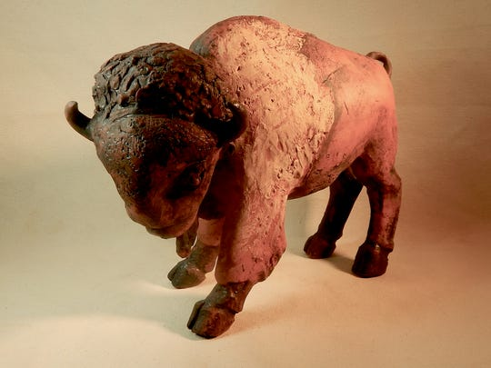 """The ceramic sculpture """"Tatanka"""" by Dale Latta is an example of the artist's work that will be on display this weekend in Aztec."""