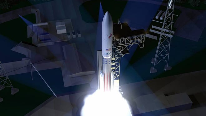 Concept image of United Launch Alliance's next-generation Vulcan rocket blasting off.