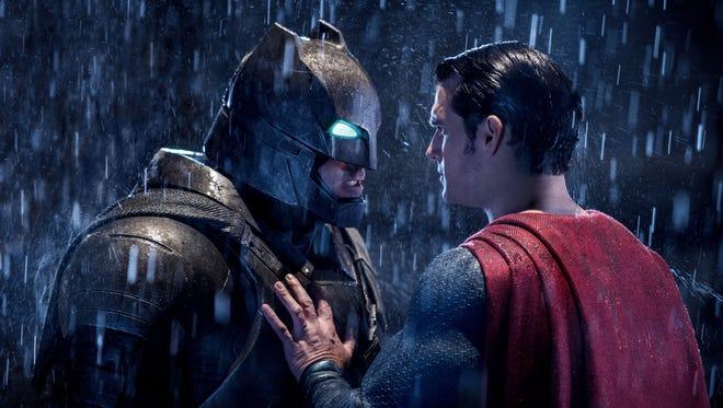 "Ben Affleck (left) and Henry Cavill in ""Batman v Superman: Dawn of Justice."""