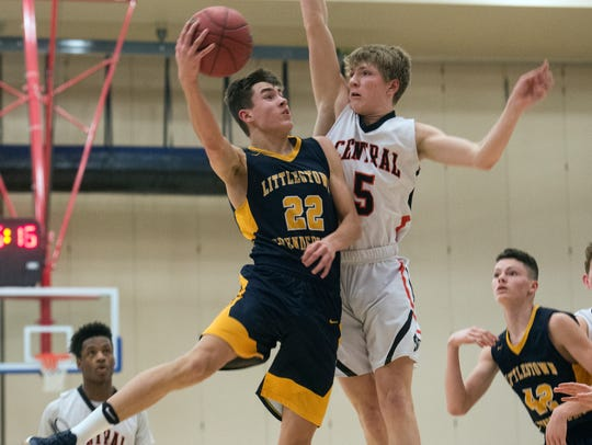 Littlestown's Logan Collins goes up for a shot, Friday,