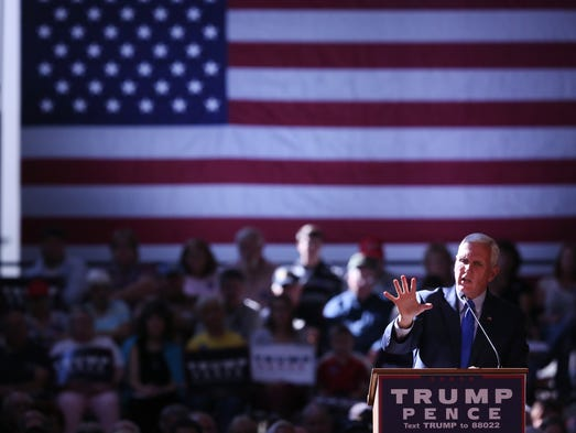 Republican vice presidential candidate Mike Pence speaks