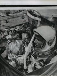 Astronauts Gordon Cooper (foreground) and Charles Conrad