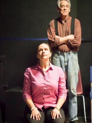 "Actors Sarah Venooker, left, and Bob Nuner during a rehearsal for Vermont Stage Company's production of ""The Quarry,"" by Vermont playwright Greg Pierce, at Off Center for Dramatic Arts on Friday."
