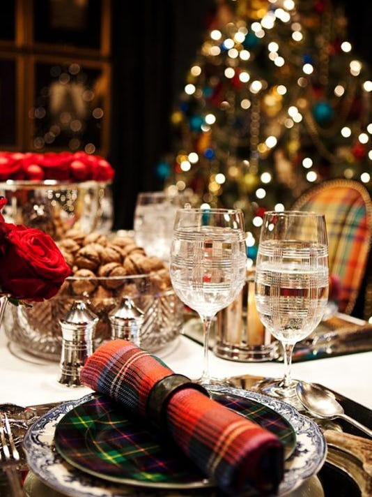 Create a festive holiday table using fabrics, crystal and china.jpg