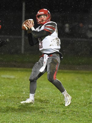 Loudonville quarterback Kolton Edmondson drops back to pass against Shelby in the regular season finale. Edmondson ranks among the area's leaders in passing and rushing.