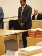 Jojo John, the Nyack man charged with piloting a boat drunk during a crash that killed two friends, appears in court Wednesday. He pleaded not guilty to an 18-count indictment.