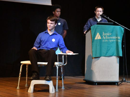 The Shower Tech team from Bayside High with their product called Shower Warden. The finals of the 2019 Junior Achievement of the Space Coast Be Entrepreneurial Business Blastoff Challenge was held at the Historic Cocoa Village Playhouse. The four remaining teams, three from Bayside High School in Palm Bay, and one from Viera High presented their ideas to a panel of judges.