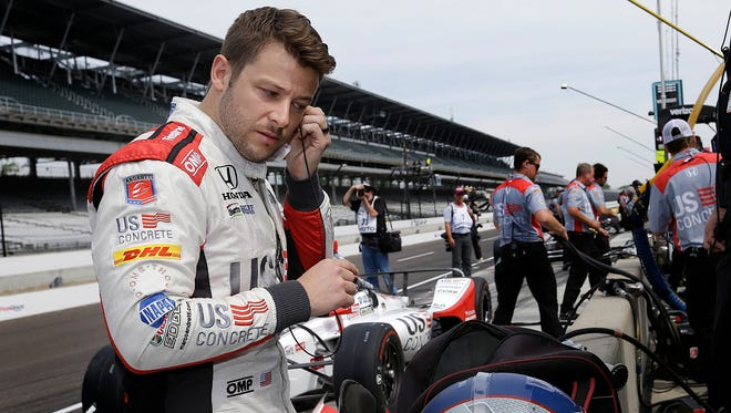 Andretti Herta Autosport with Curb-Agajanian IndyCar driver Marco Andretti (98) prepares himself for practice for the Indianapolis 500 at the Indianapolis Motor Speedway on Thursday, May 17, 2018.