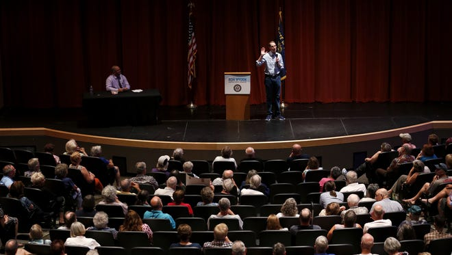 Sen. Ron Wyden, D-Oregon, speaks to a crowd during his Marion County town hall at the Silverton High School auditorium on Wednesday, Aug. 9, 2017.