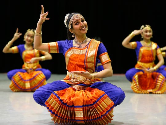 Members of the Cultural Centre of India dance troupe perform as part of the Macy's Arts Sampler Weekend at the Cincinnati Ballet Studios.