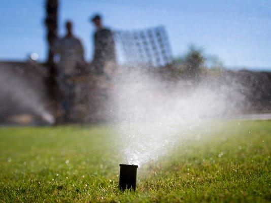 Sprinkler in backyard