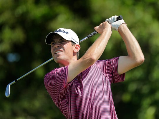 Will Grimmer plays his shot from the 11th tee during the third round of the U.S. Open Golf Championship, Saturday, June 16, 2018, in Southampton, N.Y. (AP Photo/Frank Franklin II)