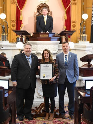 Rep. Romanchuk presented the resolution to Cristen Gilbert, president and CEO, and James Twedt, vice president of operations, during Wednesday's Ohio House session.