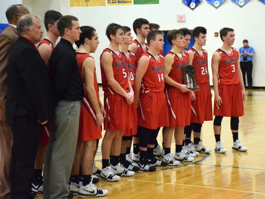 Players and coaches from Riverheads boys basketball