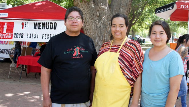 Daniel Mendoz and the End of the Trail team won the pro division of the Menudo Cookoff during the third annual Luna County Salsa Festival held this past weekend at Luna County Courthouse Park. Pictured with Daniel are team members Raquel and Kira Mendoza.