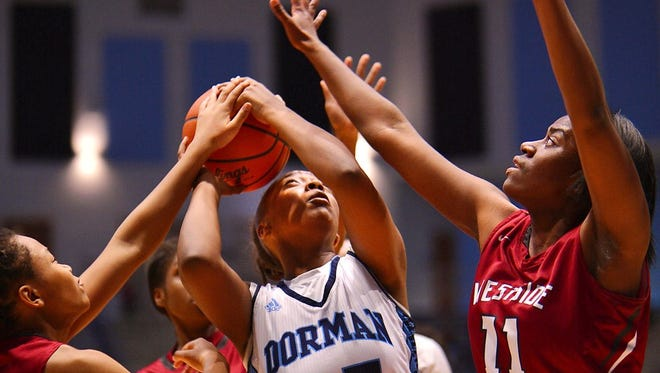 Dorman's Tamia Bradley goes up for a shot against Westside's Jala Roberts Friday in Roebuck.