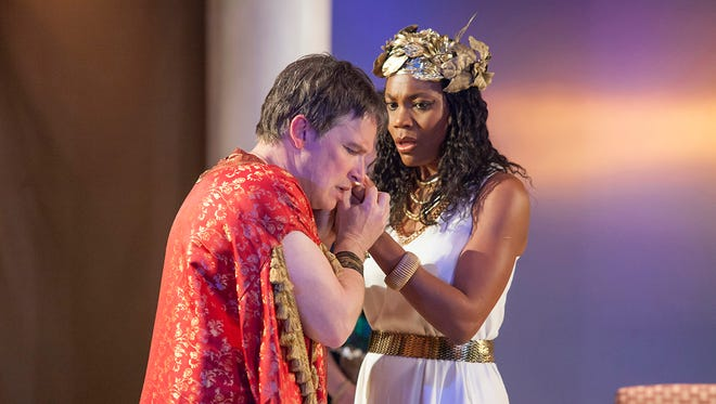 "Chantal Jean-Pierre (Cleopatra) and Nicholas Rose (Marc Antony) star in Cincinnati Shakespeare Company's production of William Shakespeare's ""Antony and Cleopatra."""