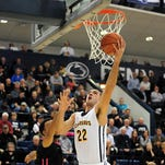 Canisius forward and Aquinas graduate Phil Valenti, shown in a game last December, scored a carerer-high 33 points in Thursday's three-overtime win over Niagara to open the MAAC Tournament.