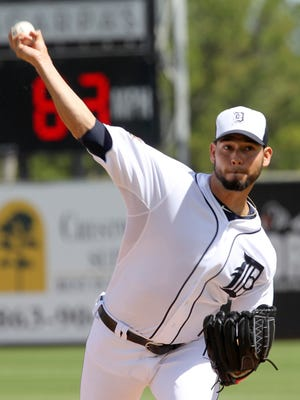 Mar 14, 2015; Detroit Tigers starting pitcher Anibal Sanchez throws a pitch during the first inning against the Philadelphia Phillies at Joker Marchant Stadium.
