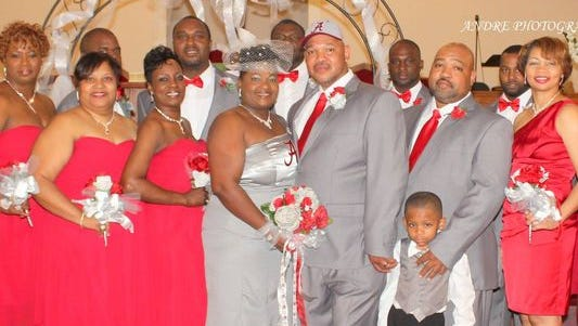 Alfredda and Quincy Carnes were married in Humboldt on Oct. 11. Alfredda's dress had a University of Alabama 'A' on the front and 'Roll Tide' on the back. The dress theme was a secret for her husband.