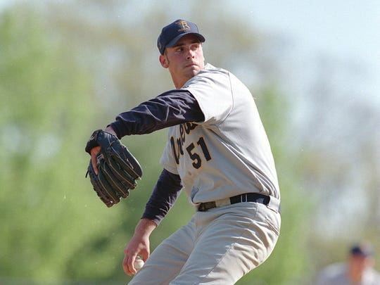 J.M. Gold, shown pitching for Toms River North in 1998, was drafted No. 13 overall by Milwaukee that year, the highest a Shore area player has ever been selected. Barnegat's Jason Groome could go higher this year, though.
