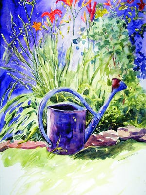 """Rosita,"" a watercolor painting by Jule McClellan. The watering can in  her sister Rosita's backyard had been purposely placed among the daylilies and McCellan found it quite striking."