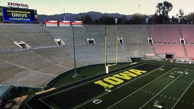 The view of the Iowa end zone at the Rose Bowl in Pasadena, Calif., as shown on ESPN programming Friday morning.