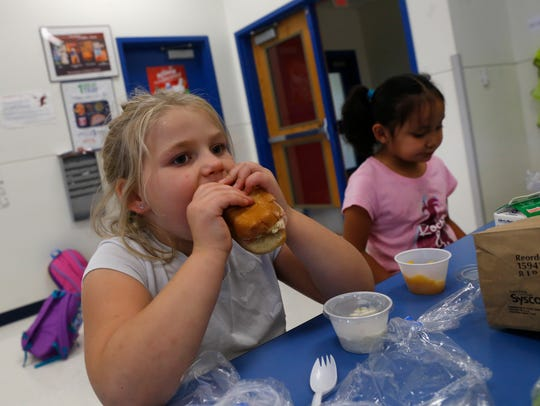 Kiara Bowen, left, and Raylene Castiano eat dinner