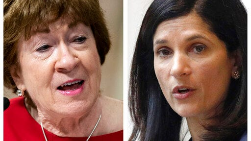 FILE - This pair of 2020 file photos shows incumbent Republican U.S. Sen. Susan Collins, left, and Maine Democrat House Speaker, right, candidates for U.S. Senate in the Nov. 3 election.
