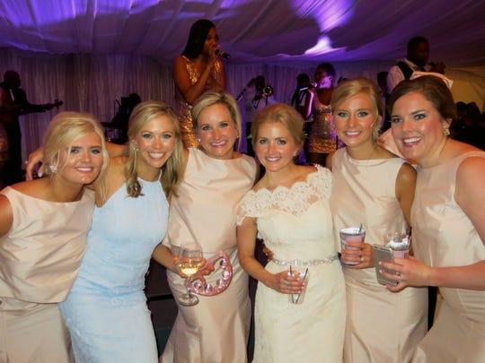 McKenna Mehle, Mallory Wiedemann, Lauren Tullos,Bride Caroline Frierson,  Laura Frierson, Whitney Greer at Caroline's wedding reception.